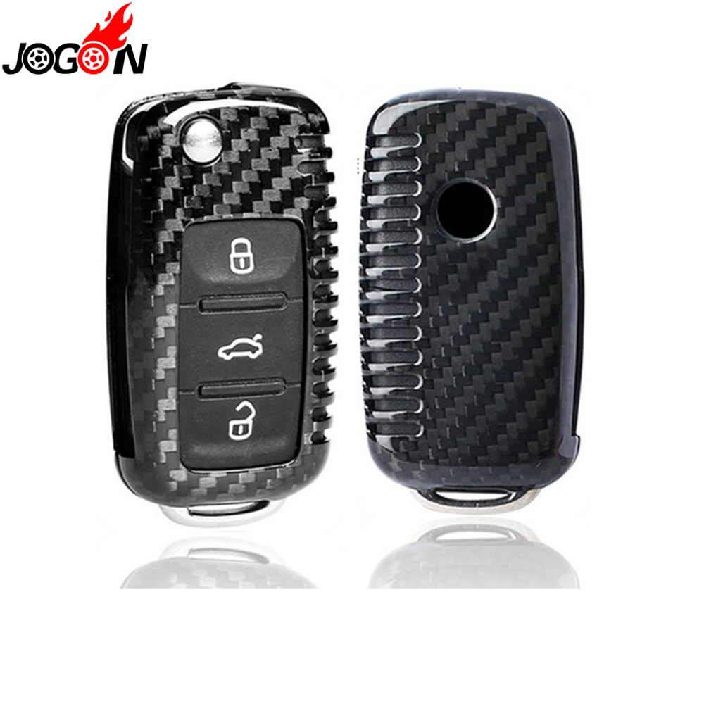 Real Carbon Fiber Remote Fold Key Fob Case Shell Cover For Volkswagen VW Golf 6 VI