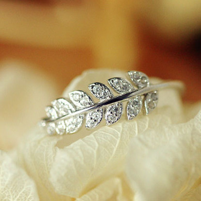 New Arrival 925 Sterling Silver Rings for Women Jewelry Crystal Stone Leaf Rings Adjustable Ring