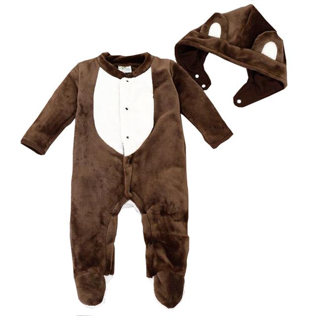 Infantil Animal Pijamas de Franela Espesar Con Capucha Mono Del Bebé Pie Coverd Mameluco Del Invierno Del Bebé Roupas Bebes Infantil Animal Pijamas