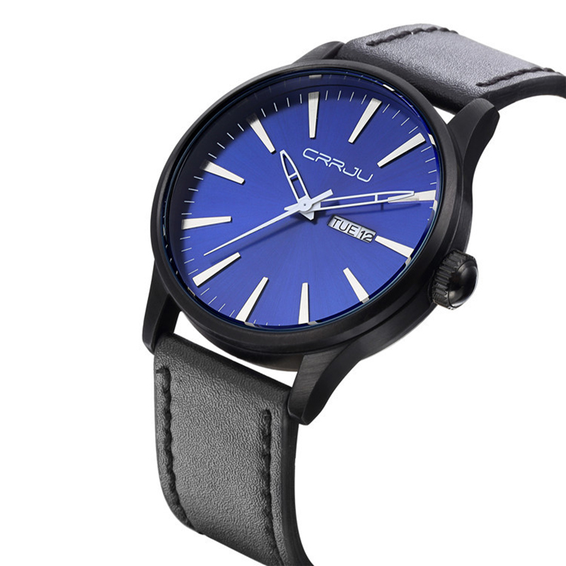 CJ-2108 Watch Men Black Fashion&Casual Men Watch Leather with Week Display Complete Calendar Men's Wrist Watch Water Resistant cj 2104 watches men leather band quartz wrist wristwatch fashion black simple watch men 2018 round leather watch water resistant