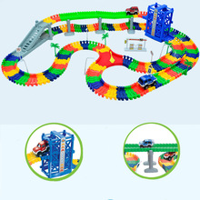 80/220/300pcs Assembly Race Tracks Rail Miraculous Glowing in The Dark Race Track for Car Racing Game childrens toys for boys