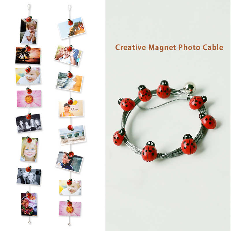 2pcs 1.5M Hot Sale Hanging Photo Rope Silver Magnetic Cable Photo Or Card Holder With 8 cartoon ladybird  Image Magnet