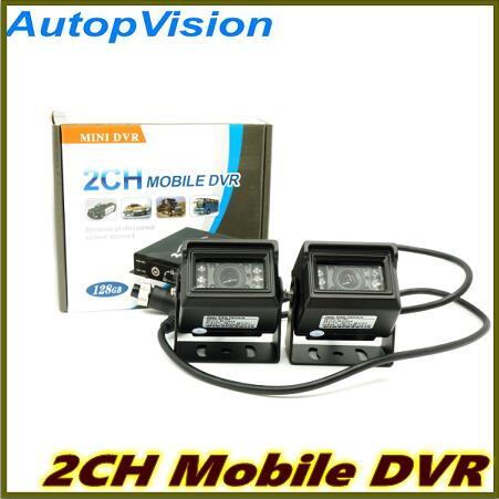 2Ch Mini véhicule voiture enregistreur vidéo voiture/Bus voiture Mobile vidéo DVR e/s alarme mouvement détecter noir en Stock Max jusqu'à 128GB carte SD