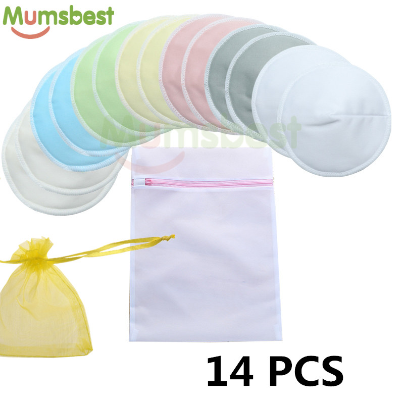 [Mumsbest] 14 PCS Reusable Bamboo Breast Pads Organic Bamboo Washable Contoured Feeding Pad Mum Contoured Nursing Pads
