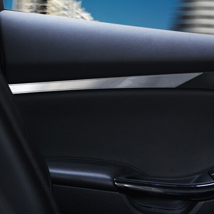 Free shipping font b interior b font door plank armrest sticker Stainless steel trim For Ford