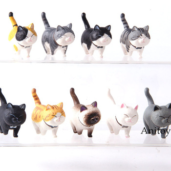 Cartoon Kawaii Lovely Cats Neko Action Figure Cat PVC Mini Animal Figures Decoration Toys Gifts 9pcs/set фото