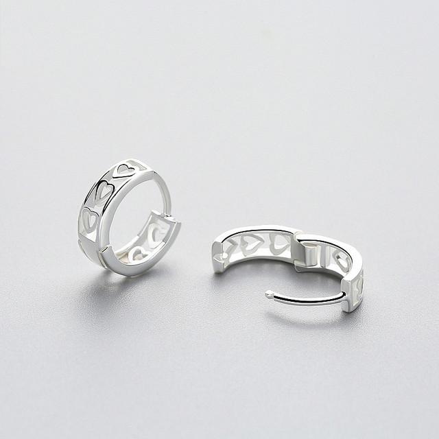 925 Sterling Silver Heart Hoop Earrings