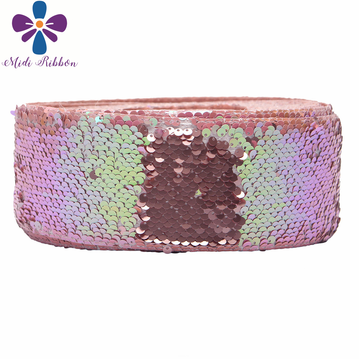 """3""""75mm Double Color Reversible Sequin Ribbon Neon Pink Green Navy Yellow DIY Wedding Gift Bowknot Hair Band Making 25yards/roll-in Ribbons from Home & Garden    3"""