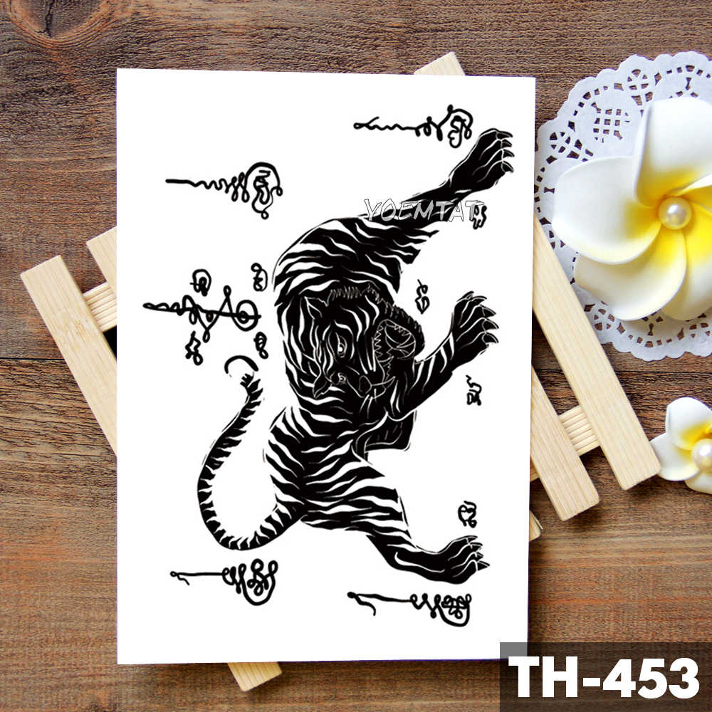458fef9441672 ... Thailand Thorn Tiger Totem Waterproof Temporary Tattoo Sticker Courage  Authority Maori Flash Tattoos Body Art Arm ...
