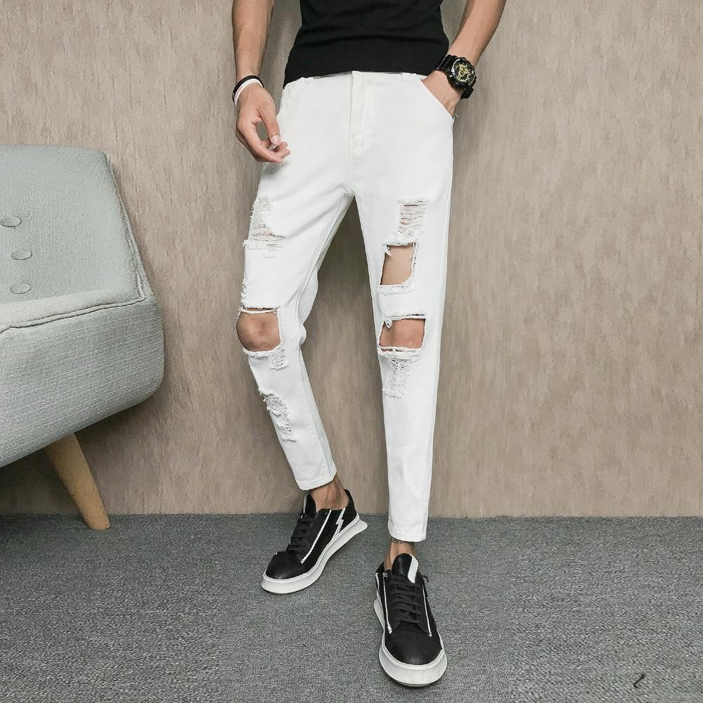 Korean Solid Jeans Men Fashion 2018 Brand New Ripped Men Jeans Ankle Length Slim Fit Hip Hop Denim Pants Men Streetwear Trousers
