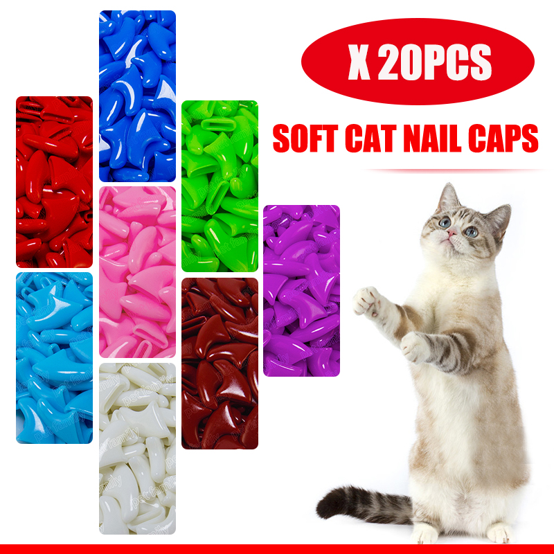 20pcs soft cat nail caps pet paw claws nail grooming