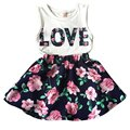 2PCS Toddler Kids Baby Girls Outfits T Shirt Tops + Floral Mini Skirt Clothes Set DH