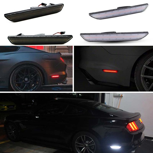 For Car Mustang Led Rear Side Marker Lamps With 96 Smd 4014 Lights 2017 2016 Ford White Red Light 12v