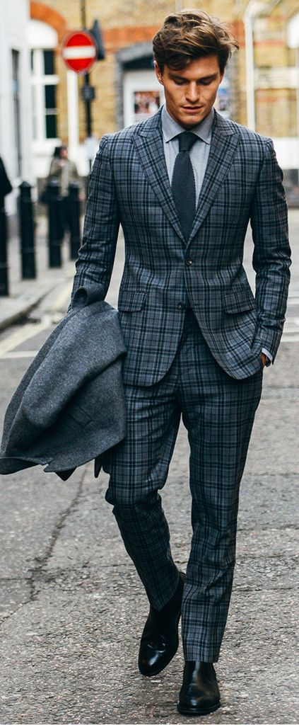 British Style Mens Plaid Suits Vintage Men Slim Fit Tuxedos Notch Lapel Groomsmen Wedding Tuxedos For Men (jacket+pant)