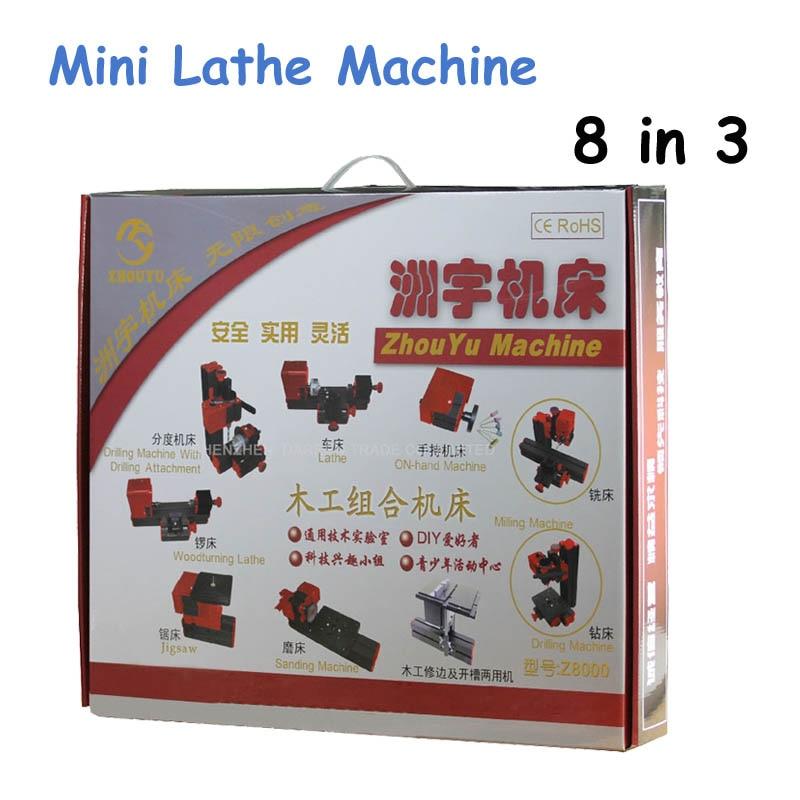 1 Set 8 in 3 Lathe Multi Functional Lathe DIY Mini Lathe Machine Tool Mini Lathe for Wood and Soft Metal