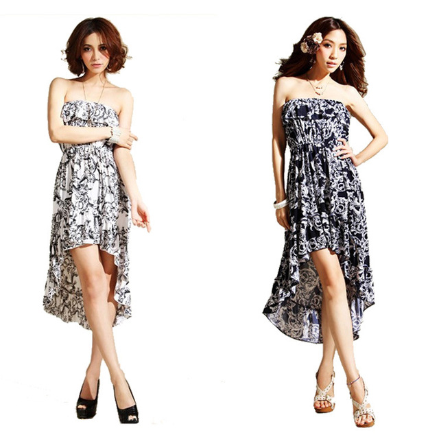 907d0334d7 Plus size black and white flower tube top ruffle bottom expansion irregular  one-piece dress