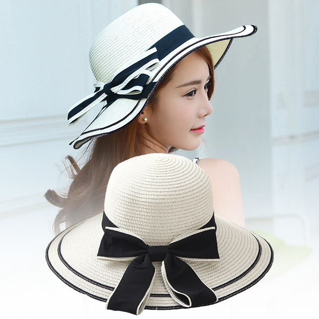 6840c3e4 Mingjiebihuo Korean new fashion temperature comfortable summer outdoor  sunscreen hat bow beach breathable cute cool straw hat