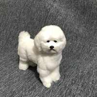 plastic&fur simulation Bichon Frise dog hard model large 23x23cm white dog prop craft home decoration toy gift w0303