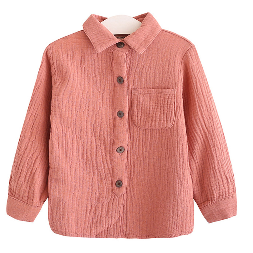2018 Boy Girl Linen Cotton Shirt Spring Autumn Children Clothing Turn Down Collar Cardigan Button Brand Long Sleeve Quality 2-7Y vogue inclined front fly multi button turn down collar long sleeves jacket for men