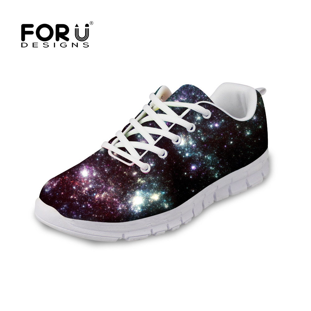 FORUDESIGNS Zapatos Men 3D Galaxy Space Star Printed Men