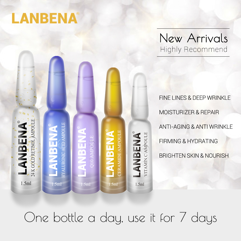 LANBENA 7pcs Ampoule Essence Hyaluronic Acid Vitamin C 24K Gold Retinol Q10 Ceramide Anti-Aging Moisturizing Beauty Essence