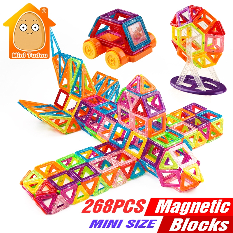 Minitudou 268PCS Mini Magnetic Building Blocks Toys Construction Bricks Set DIY Educational Toy Magnet For Kids 2016 kids diy toys plastic building blocks toys bricks set electronic construction toys brithday gift for children 4 models in 1