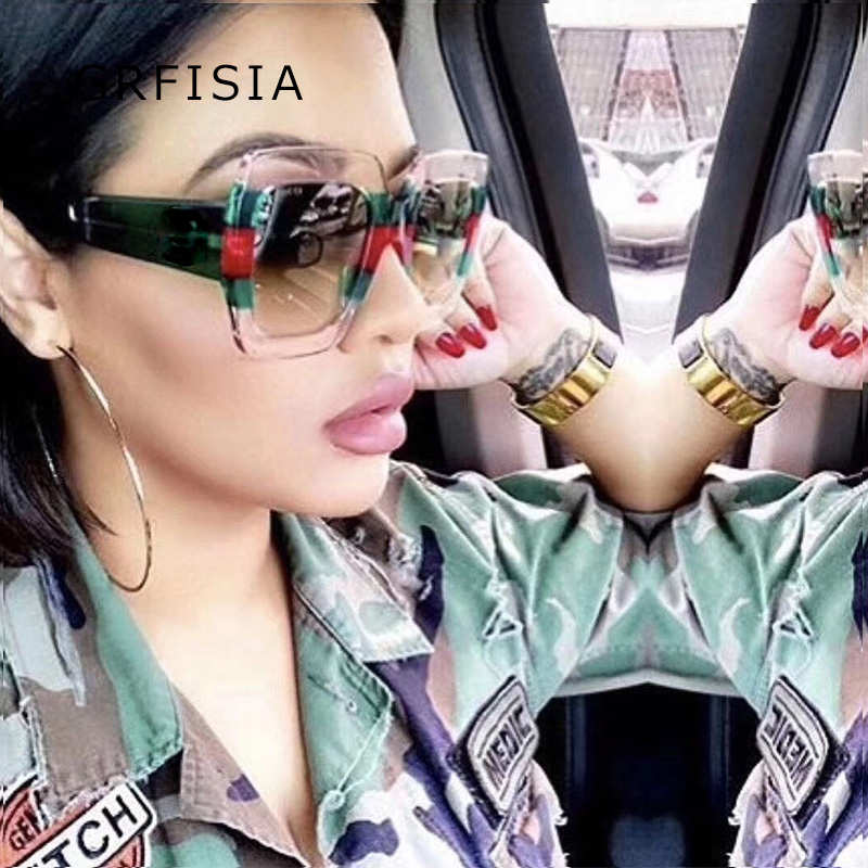 GRFISIA Oversized Square Sunglasses Women 2018 GG Brand Designer Multi Sun Glasses For Women Eyewear Ladies Goggles Shades G142