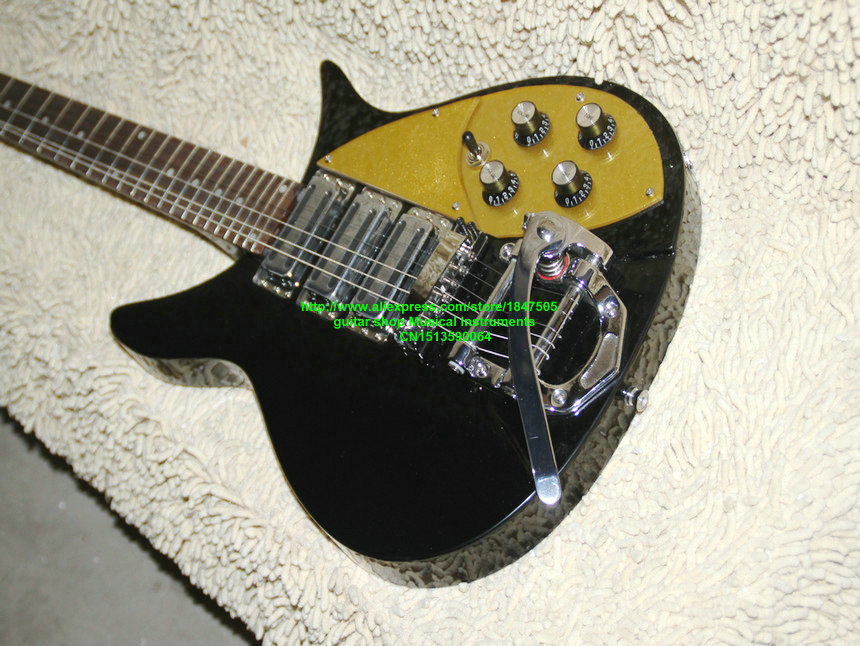 Factory OEM guitar store, Ricken 6 string Rock electric guitar with gold sparkle pickugard