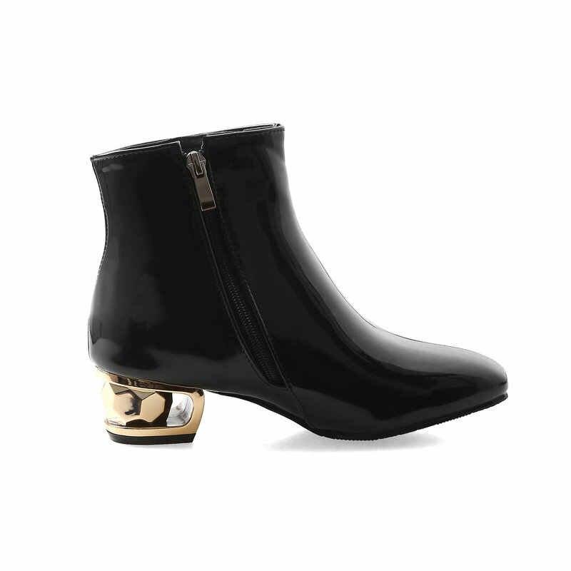 Patent Deri Kalın Topuk yarım çizmeler Kadınlar için Yuvarlak Ayak Sonbahar Kış Ayakkabı Moda Fermuar Artı Boyutu
