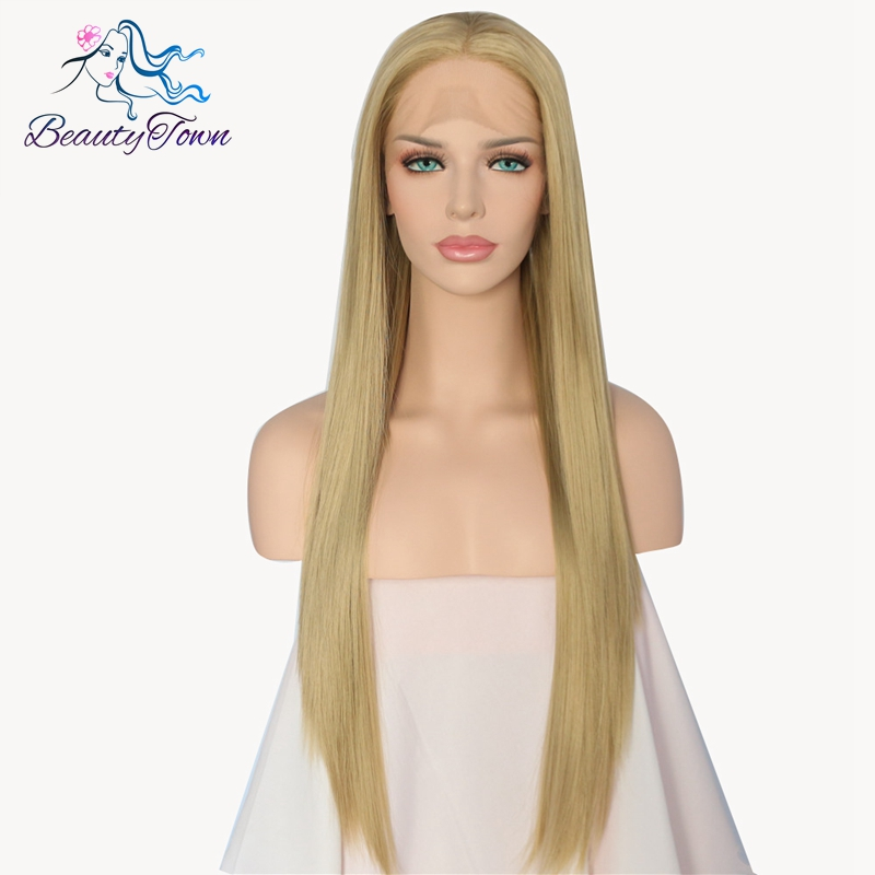 BeautyTown Handmade Natural Long Straight Blonde High Temperature Fiber Hair Synthetic Lace Front Wig Heat Resistant Women Wigs-in Synthetic None-Lace  Wigs from Hair Extensions & Wigs    1