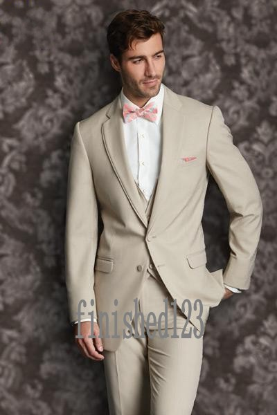 Fashionable Two Button Beige Groom Tuxedos Groomsmen Mens