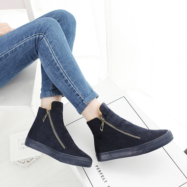 Designer Women Winter Boots Female Zipper Flock Anti Slip Snow Ankle Boots  Ladies Plush Sneakers Casual 4eeff8904f