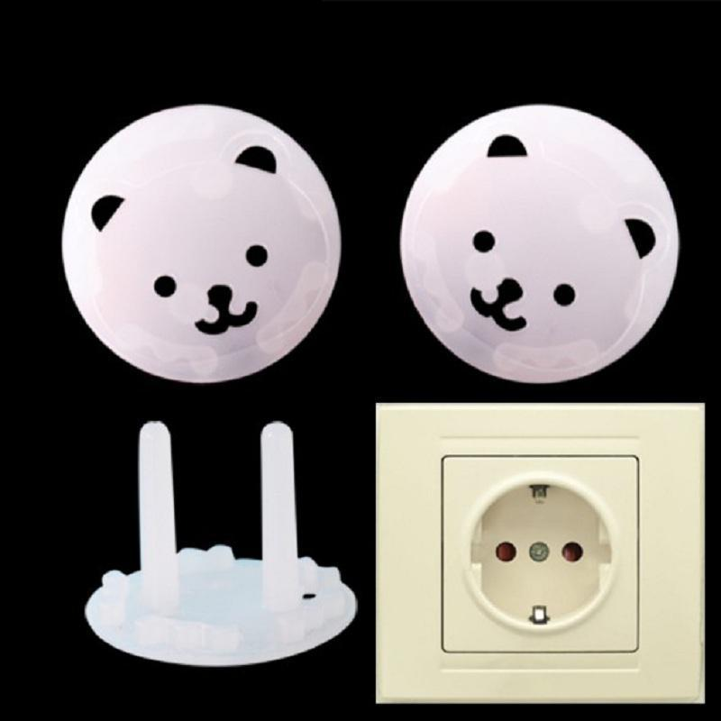 10Pcs/Set Bear EU Power Socket Electrical Outlet Cover Protection Children Baby Safety Anti Electric Shock Plugs Protector Cover(China)