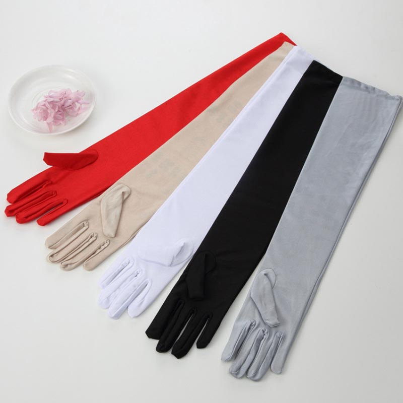 45cm/55cm Sexy Elastic Spandex Long Finger Gloves Women Lady Gloves Dress Drama Dance Show Party Supplies