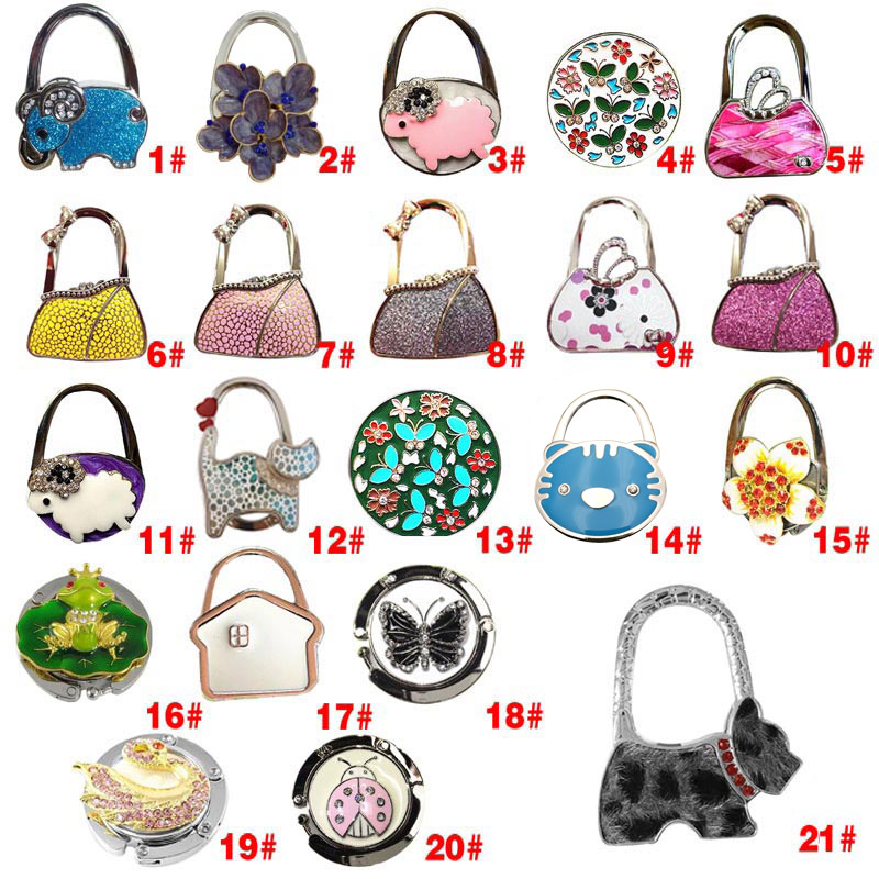 Worldwide Women Purse Folding Rhinestone Crystal Alloy Handbag Bag Hanger Hook Holder Portable LBY2017 texu portable foldable folding crystal alloy purse handbag hook hanger bag bag holder