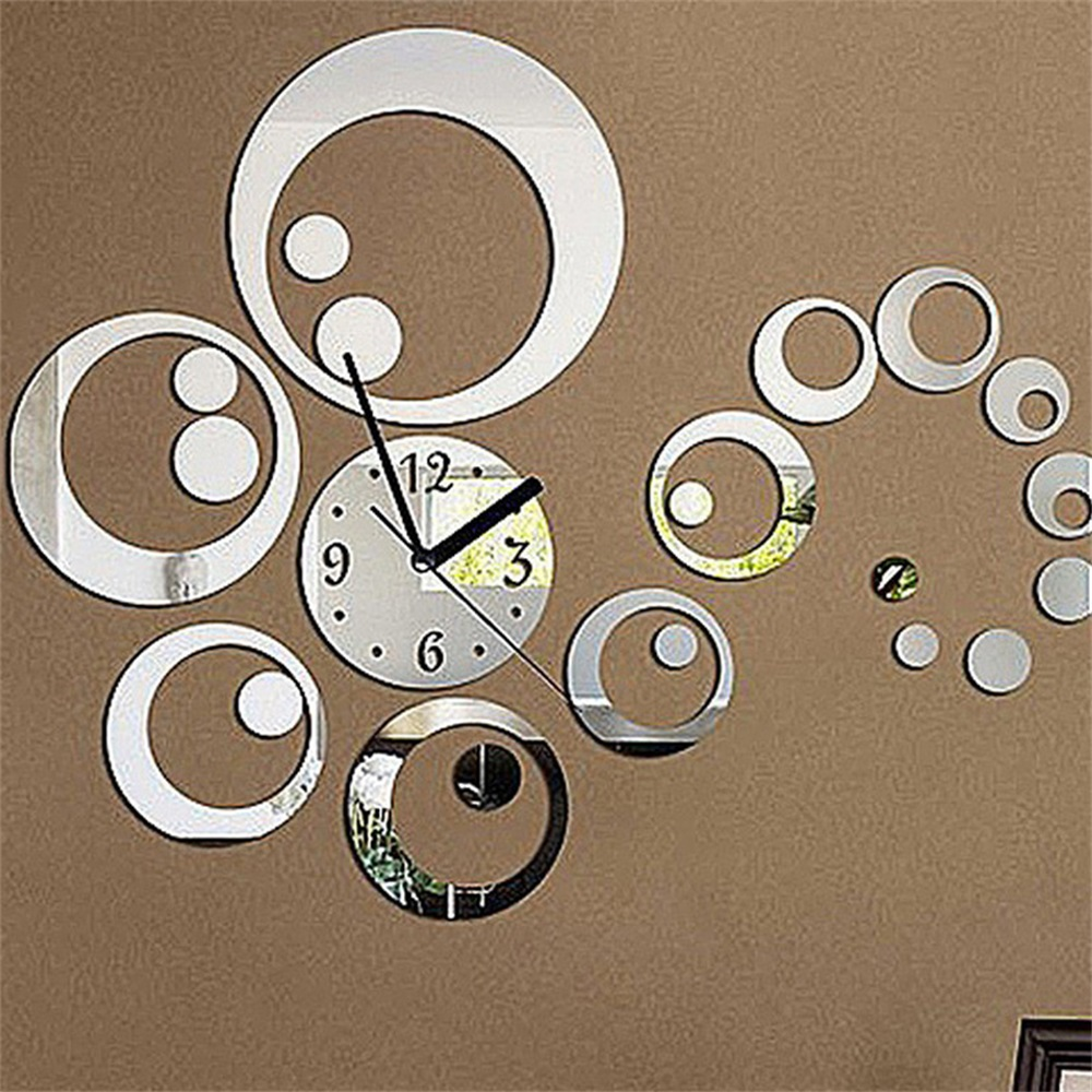 6 Numbers Total Art Modern Luxury DIY Removable3D Acrylic Crystal Mirror Wall Clock Watch Wall Sticker Living Room Bedroom Decor