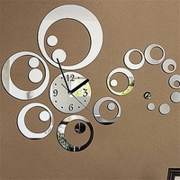 6 zahlen Insgesamt Kunst Moderne Luxus DIY Removable3D Acryl Kristall Spiegel Wanduhr Uhr Wand Aufkleber Wohnzimmer Schlafzimmer Decor-in Wanduhren aus Heim und Garten bei