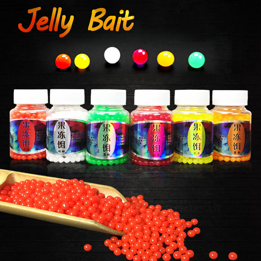 1 Bottle 70g 450pcs New Jelly Bait Beads Bean Egg Boilies Carp Fishing Bait Saltwater Makerel Sabiki Lures Fishing Tackle