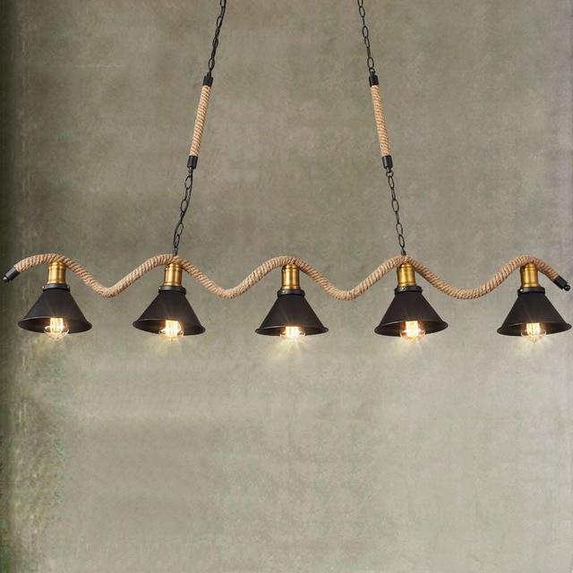 Corde Pendentif Lumi res Industrielle Pendentif clairage lampe suspendue bar luminaria pendente luminaire suspendu 3 5.jpg 640x640 10 Nouveau Suspension 3 Lampes Hht5