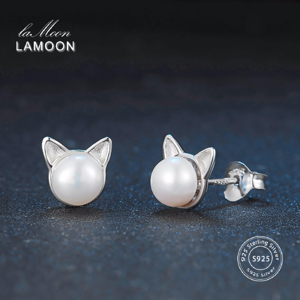 LAMOON 2017 New 6*6mm White Bead Pearl Little Cat Ears Stud Earrings 100% Real 925 Sterling Sliver Fine Jewelry for Girl LMEY168
