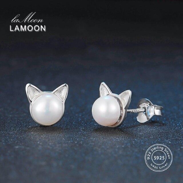 LAMOON 2017 New 6*6mm White Bead Pearl Little Cat Ears Stud Earrings 100% Real 9