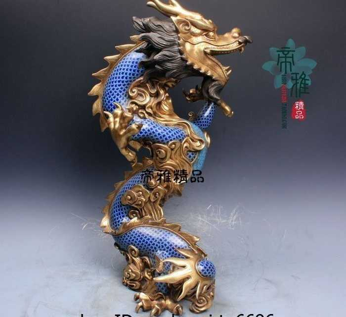 China Pure Bronze Copper Cloisonne 24K Gold Gild Auspicious Zodiac Dragon Statue