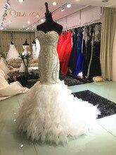 Foto-foto sebenar bling kristal manik-manik pakaian perkahwinan mewah ikan duyung panjang ekor korset lace up gaun pengantin vestido de noiva