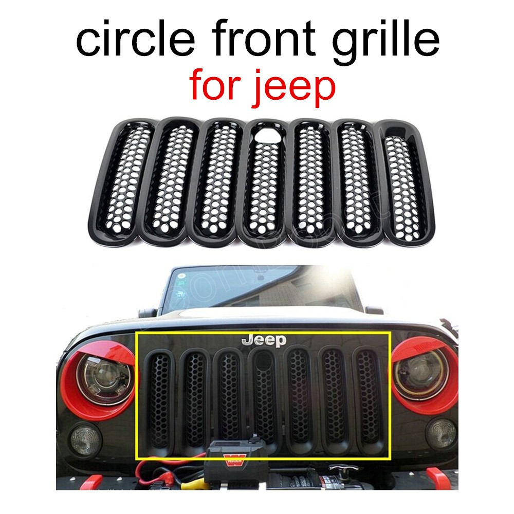 US $24 49 11% OFF|New 7Pcs /Set Black Front Grille Cover Insert Mesh Grill  For Jeep Wrangler JK Rubicon 07 15 with lock hole free shipping-in Racing
