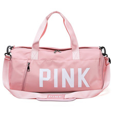 Pink Casual Sports Fitness Bag Large Capacity Dry and Wet Separation Women Shoulder Travel Bag Waterproof Portable Nylon Handbag