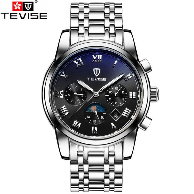 ФОТО Orignal Tevise Fashion Montre Homme Men's Sapphire Day/Week MoonphaseAutomatic Mechanical Watches Gift Box Free Ship