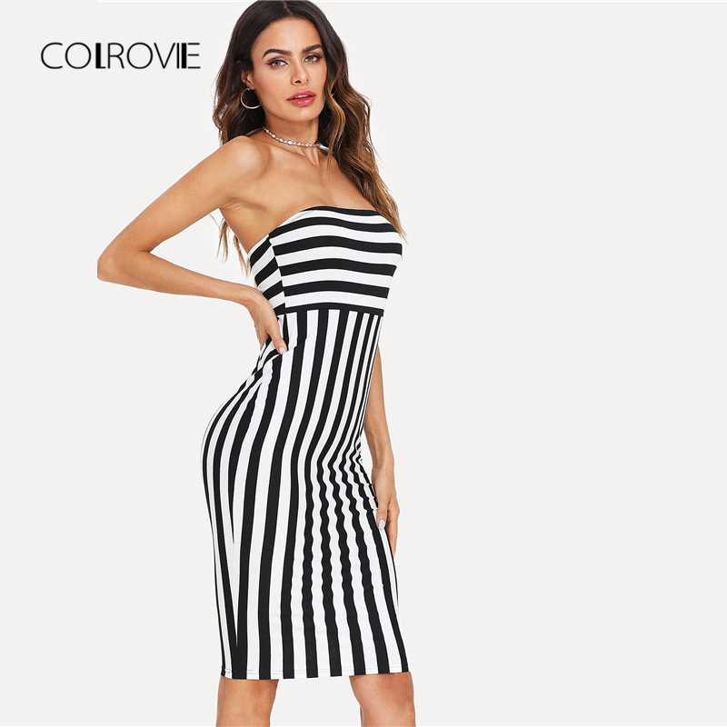 2438559b149 COLROVIE Striped Bandeau Party Dress 2018 New Off the Shoulder Sleeveless  Summer Dress Knee Length Striped Bodycon Women Dress-in Dresses from  Women s ...