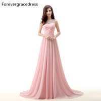 Forevergracedress Actual Photos Pink Long Evening Dress Sexy Sleeveless Scoop Neck Chiffon Beaded Formal Party Gown