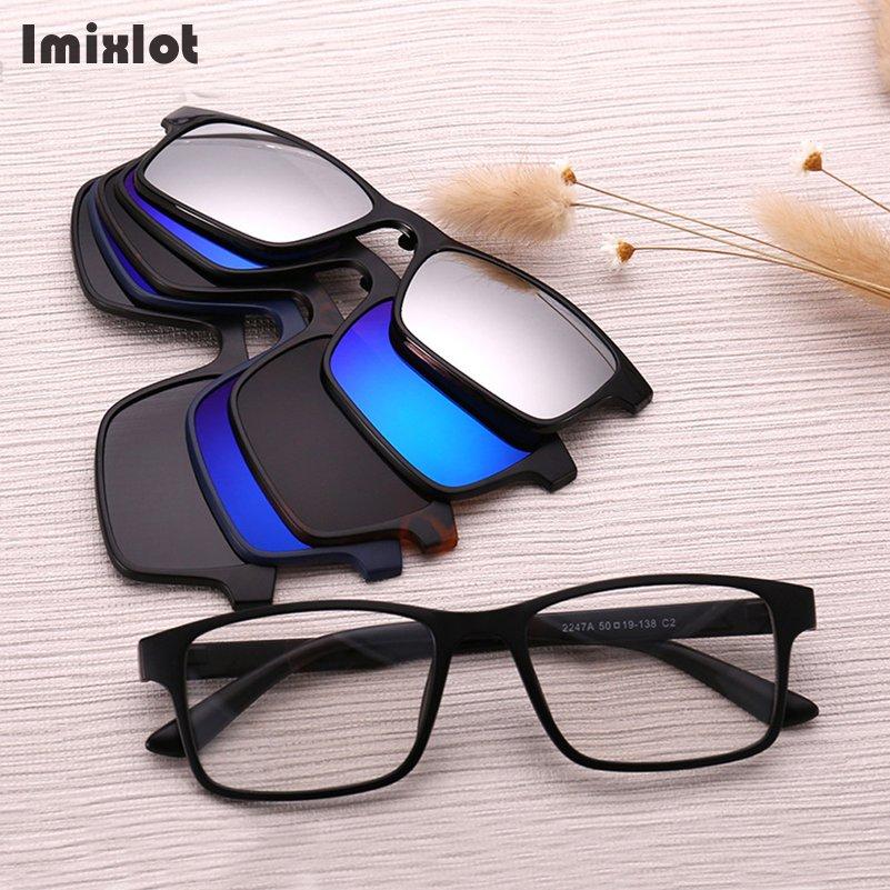 c7b66f62cc Imixlot 5pcs set Sunglasses Women Men Polarized Magnetic Clip Glasses  Driving Clip On Sunglasses Magnet Myopia Glasses Frame