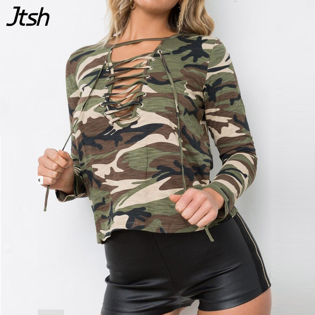7f1d4df9b2 Lace Up Camouflage Military Shirt Women Tops Sexy Army Green Long Sleeve  Blouses 2017 Ladies Blouse Causal Cotton Top Tee Shirts